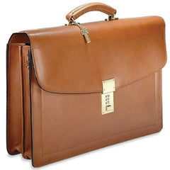 Jack Georges #9003 Natural Tan Belting Leather Double Gusset Locking Flapover Briefcase