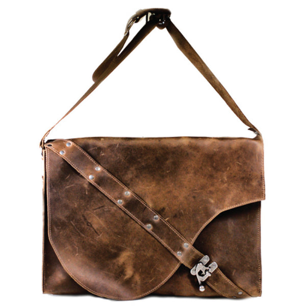 L201102-CB Divina Denuevo Chocolate Brown Leather Barcelona Laptop Bag
