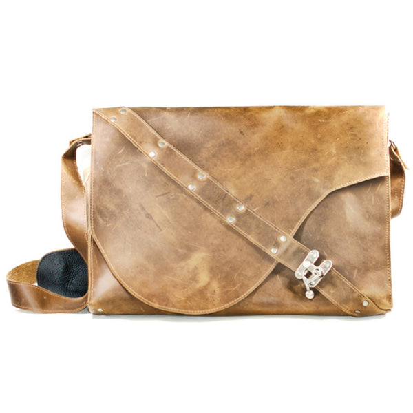 L201102-TB Divina Denuevo Tan Brown Leather Barcelona Laptop Bag