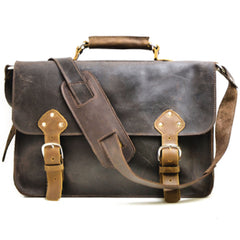 Divina Denuevo Rustic Chocolate Brown Leather Brighton Briefcase