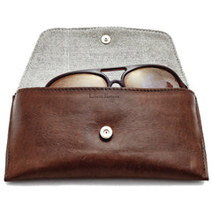 Libero Ferrero Vegetable Tanned Espresso Horween Leather James Sunglasses Case