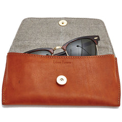 Libero Ferrero Vegetable Tanned Hickory Horween Leather James Sunglasses Case