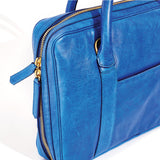 Libero Ferrero Azure Blue Slim Horween Leather Briefcase