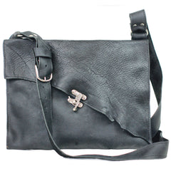 M201102-BK Divina Denuevo Portland Industrial Raw Edge Leather Messenger Bag