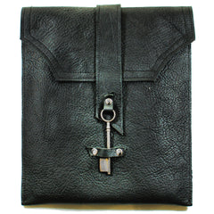 M201104-BK Divina Denuevo Black Leather Ayre iPad Messenger Bag