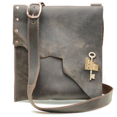 M201304-CB Divina Denuevo Chocolate Brown Urban Raw Edge Leather iPad Satchel