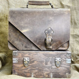 Divina Denuevo Tan Brown San Francisco Diagonal Leather Briefcase