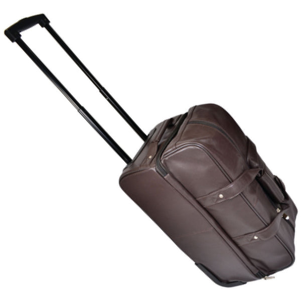 Royce 649-5 Chocolate Brown Nappa Leather Double Decker Trolley Duffle