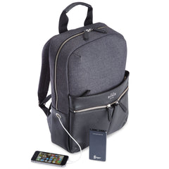 686-BLGY-4 Royce Leather USB Power Bank Laptop Charging Backpack in Black / Gray