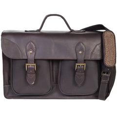 Scully Leather 604-17-25 Chocolate Brown Sierra Leather Double Gusset Briefing Case