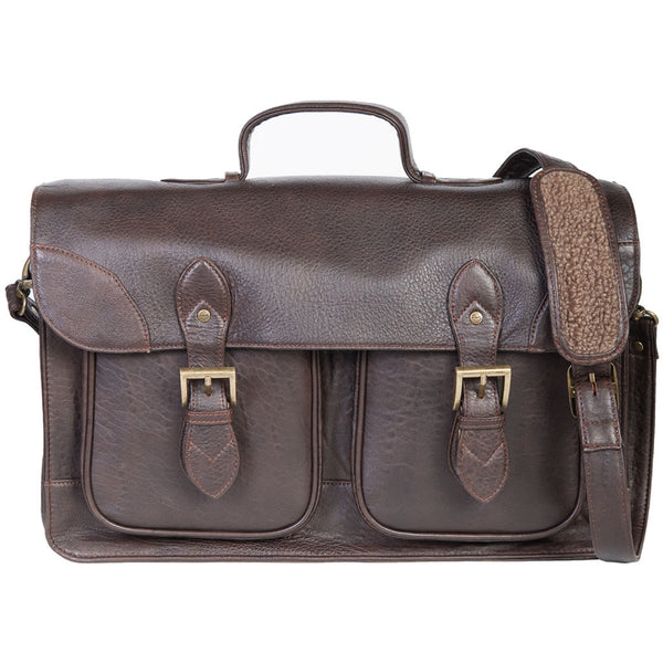 Scully Leather 604-41-25 Chocolate Brown New Zealand Lambskin Double Gusset Briefing Case