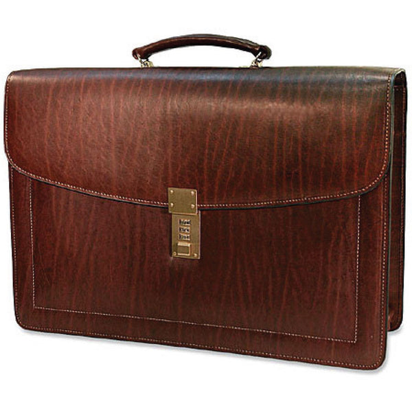 Jack Georges #9004 Saddle Brown Belting Leather Three-Gusset Locking Flapover Briefcase