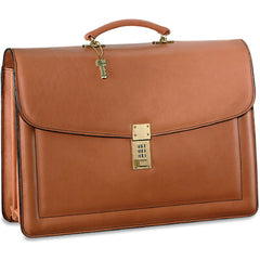 Jack Georges #9004 Natural Tan Belting Leather Triple Gusset Locking Flapover Briefcase