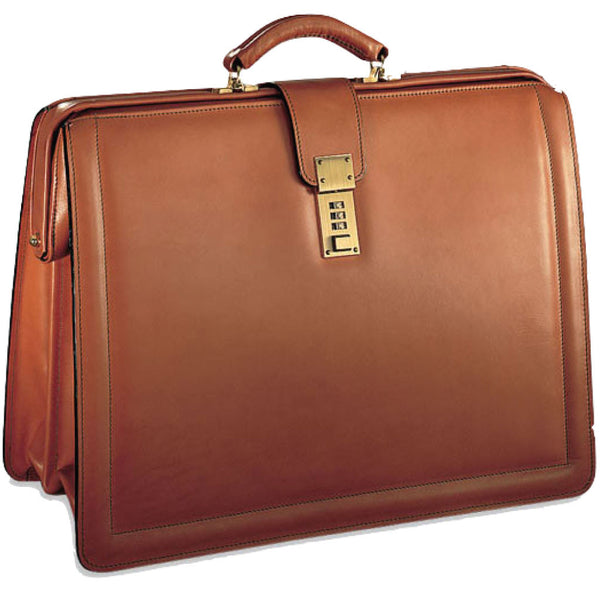 Jack Georges #9005 Natural Tan Belting Leather Classic Combination Lock Briefbag