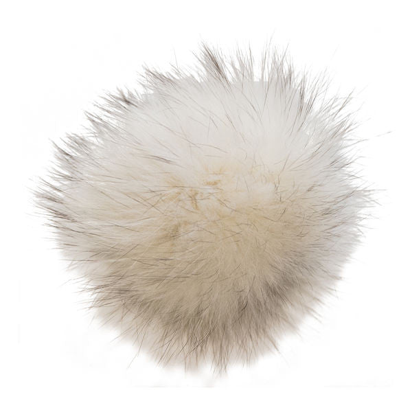 Winter Hat - Offwhite -with Silver fox recycled fur pompom!