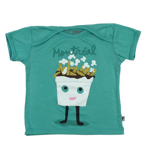 Turquoise T-shirt for kids, Montreal Icons, poutine illustration by Francis Léveilée.