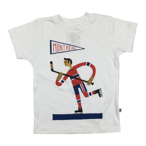 White T-shirt for kids, Montreal Icons, hockey illustration by Benoit Tardif