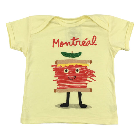 Yellow T-shirt for kids, Montreal Icons, smoked meat man illustration by Francis Léveilée.