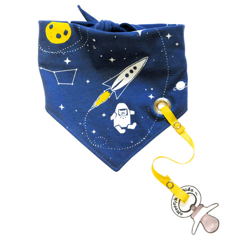 Bandana Bib with snaps - Space