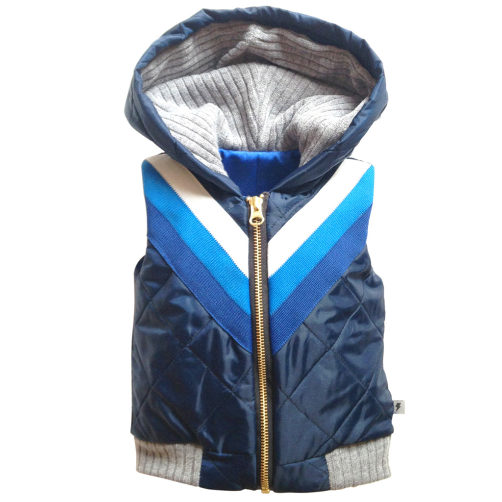 Sleeveless Bomber Jacket - Blue