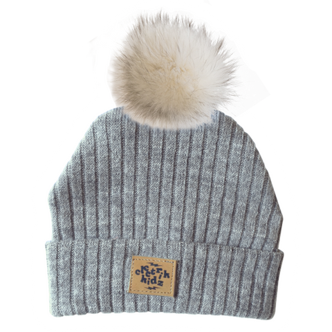 Winter Hat - Grey - With recycled fur pompom!