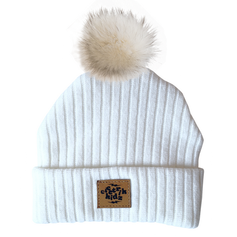 Winter Hat - Offwhite - With recycled fur pompom!