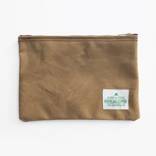 Waxed Cotton Utility Pouch - Tan