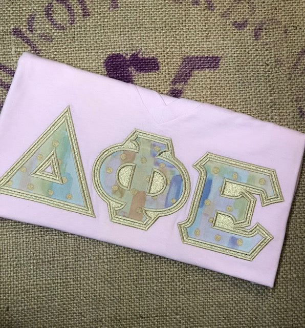Water Color and Metallic American Apparel Sorority Tee Shirt-Sorority Shirt-Auntie J's Designs