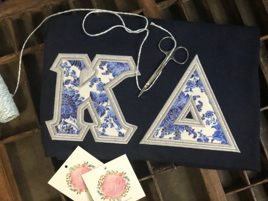 Blue and White Floral American Apparel Tee Shirt-Sorority Shirt-Auntie J's Designs