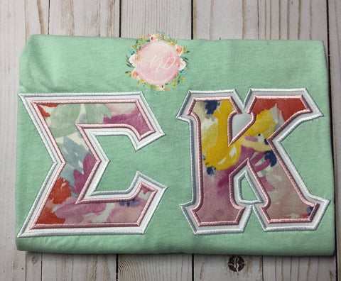 Mint and Flowers Sorority Tee