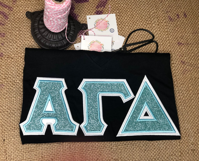 Glitter Glitter Sorority Letter Shirt-Sorority Shirt-Auntie J's Designs