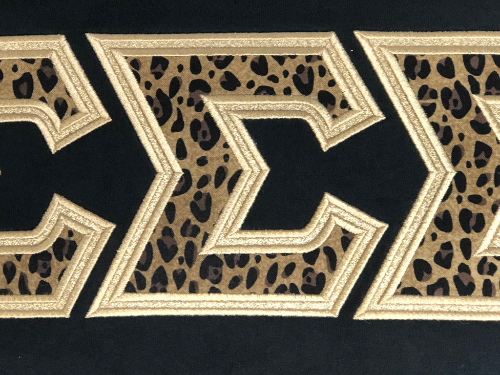 Leopard Print and Gold Metallic-Sorority Shirt-Auntie J's Designs