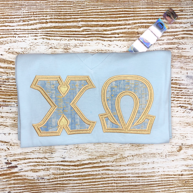 Mirrors and Blue Sorority Letter Shirt