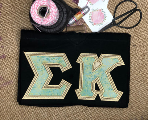 Baby Blue and Bling Sorority Letter Shirt