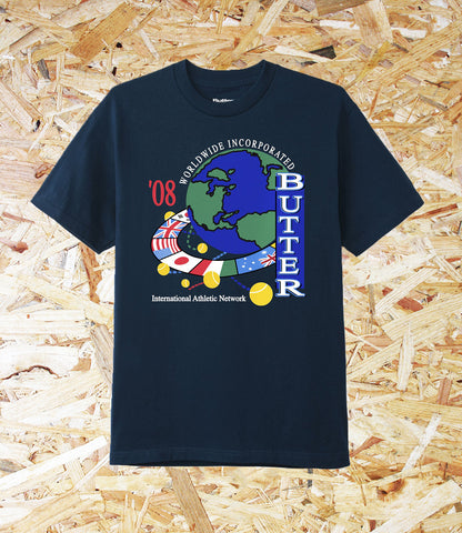Butter Goods, Athletic Network, Tee, Navy, 6oz, Cotton, t-shirt, Screen print on front, Brighton, Skate Shop, Level Skateboards, Independent