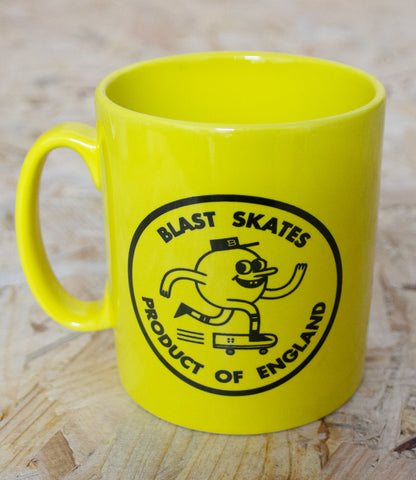 Blast Skates, Coffee, Mug, Yellow, Ceramic, mug, Blast, screen print, logo, both sides, Level Skateboards, Brighton, Skate Shop, Independent