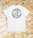 Blast Skates, Round Logo Tee, White, cotton, 205gsm, Printed in London UK, Brighton, Level Skateboards, Skate Shop, Independent