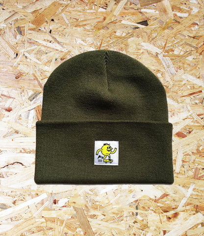 Blast Skates, Swatch Beanie, Olive, Soft Acrylic, Woven, swatch logo, Brighton, Skate Shop, Level Skateboards, Independent