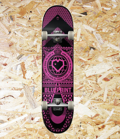 "BluePrint Home Heart Complete - 7.75"" - Black/Pink  Constructed from 7-Ply Maple for a strong build, the Home Heart Complete Skateboard from Blueprint is a perfect board for beginner/intermediate skaters, Level Skateboards, Indepednent skate shop, brighton"