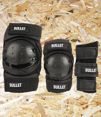 Bullet, Triple, Padset, Standard, Combo, Junior, Black, High Grade, Cordura Fabric, EVA Foam Padding, Polycarbonate High Impact Caps, Adjustable Velcro Straps, Conformity: EN14120, Age 7-12, Level Skateboards, Brighton, Skate Shop, Independent