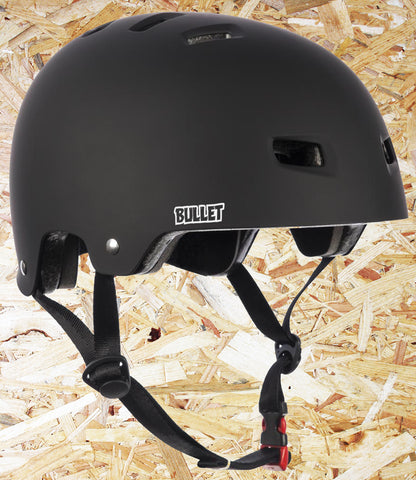 Bullet, Deluxe, Helmet, T35, Youth, 49-54cm, Matt Black, One size fits all, Bullet Youth Helmets, safety gear, Shell High density ABS injection moulded, EPS polystyrene foam Ventilation, 12 vent, cooling system, Inner padding, 3 piece, removable, washable Pads, Level Skateboards, Brighton, Skate Shop, Independent