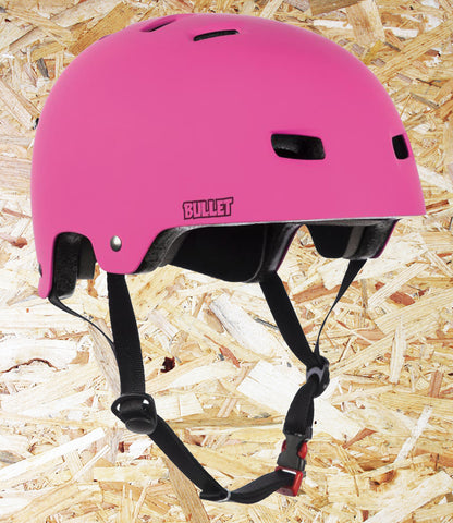 Bullet, Deluxe, Helmet, T35, Youth, 49-54cm, Matt Pink, One size fits all, Bullet Youth Helmets, safety gear, Shell High density ABS injection moulded, EPS polystyrene foam Ventilation, 12 vent, cooling system, Inner padding, 3 piece, removable, washable Pads, Level Skateboards, Brighton, Skate Shop, Independent