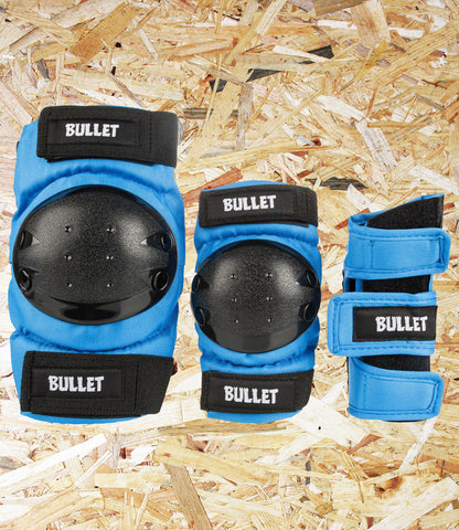Bullet, Triple, Padset, Standard, Combo, Junior, Blue, High Grade, Cordura Fabric, EVA Foam Padding, Polycarbonate High Impact Caps, Adjustable Velcro Straps,  Conformity: EN14120,  Age 7-12, Level Skateboards, Brighton, Skate Shop, Independent