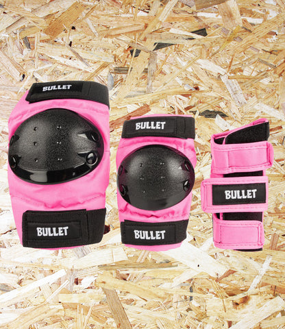 Bullet, Triple, Padset, Standard, Combo, Junior, Pink, High Grade, Cordura Fabric, EVA Foam Padding, Polycarbonate High Impact Caps, Adjustable Velcro Straps, Conformity: EN14120, Age 7-12, Level Skateboards, Brighton, Skate Shop, Independent
