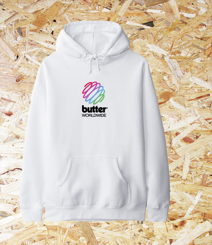 Butter Goods/ Telecom Hoodie/ White/ Heavy-weight 10 oz (330 gm) cotton/ polyester blend fleece pullover hood, Front pouch pocket, drawstring hood, rib knit cuffs and hem, Screen print on front, Brighton, Skate Shop, Level Skateboards, Independent