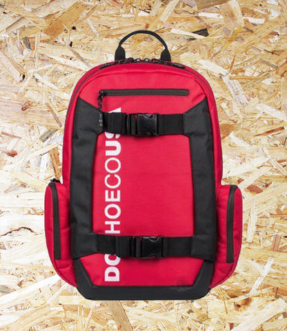 DC Shoes, Chalker, 28L Backpack, Red, External skate straps, Top small external accessory pocket, Padded and suspended laptop sleeve, Rear air mesh padding, Interior accessory organiser, Vertical embroidery, Brighton, Skate Shop, Level Skateboards, Independent