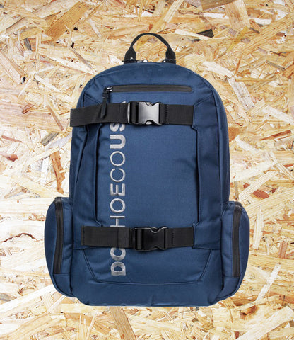 DC Shoes, Chalker, 28L, Backpack, Navy, External skate straps, Top small external accessory pocket, Padded and suspended laptop sleeve, Rear air mesh padding, Interior accessory organizer, Vertical embroidery, Brighton, Skate Shop, Level Skateboards, Independent