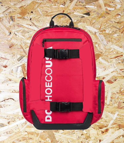 DC Shoes, Chalkers, 28L Backpack,  Red/Red, External skate straps, Top small external accessory pocket, Padded and suspended laptop sleeve, Rear air mesh padding, Interior accessory organiser, Vertical embroidery, Brighton, Skateshop, Level Skateboards, Independent