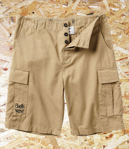 Ghetto Wear, Cargo Shorts, Khaki, Cotton, Cargo Style Shorts, Baggy Fit, Brighton, Skate Shop, Level Skateboards, Independent