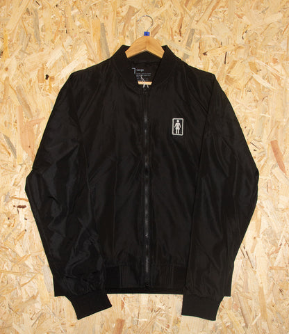 Girl, OG, Light weight, Bomber Jacket, Black, Nylon shell, Polyester lining, Regular fit, Full zip front, Embroidered patch logo at chest, Welt hand pockets, Elastic cuffs, Brighton, Skate Shop, Level Skateboards, Independent